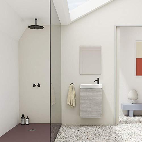 Mueble de baño Aneko, acabado en Gris Arenado con 1 puerta, lavabo cerámico y espejo. Anchura de 45 cms.