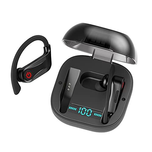 Auriculares Bluetooth, Bluetooth 5.0, Pantalla Digital LED De Pantalla Inteligente Estéreo TWS, Auriculares Bluetooth Montados En La Oreja Con Caja De Carga USB C, Reducción De Ruido Inteligente,Negro