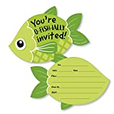 Big Dot of Happiness Let's Go Fishing - Shaped Fill-In Invitations - Fish Themed Birthday Party or Baby Shower Invitation Cards with Envelopes - Set of 12