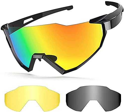 Gafas de sol polarizadas para ciclismo, gafas de sol deportivas con 2 lentes intercambiables UV400 ligeras polarizadas con marco irrompible para hombres y mujeres para correr conducir y pescar