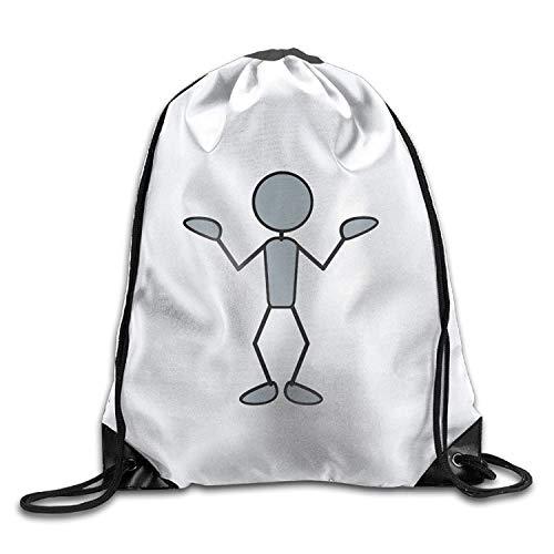 NA Greyman With Question Rucksack, personalisierbar, mit Kordelzug, tragbar, für Camping, Wandern, Schwimmen, Einkaufen, Wandern, Reisen, Strand