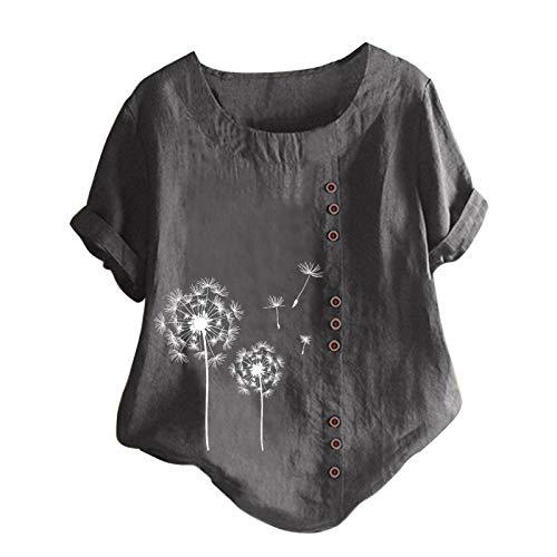 Tuniken Leinen Mädchen Top Mode Blusen Casual Rundhals Shirt Schmetterling Druck T-Shirt floryday Damenmode Leinen T Shirt Grau #20 M