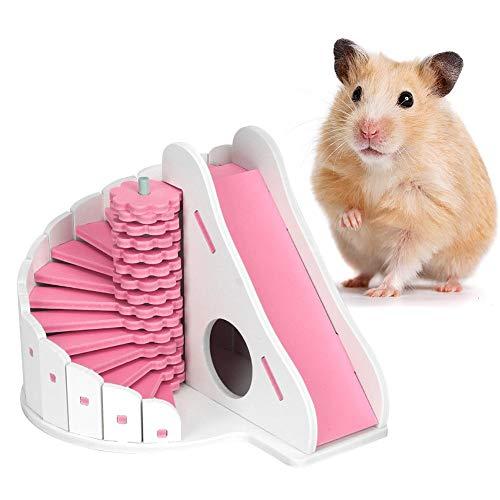 Pssopp Hamster Haus Buntes hölzernes Hamster Haus Versteck Hut Ratten Hideaway Übungs Spielzeug mit rundem Dia für kleine Tiere wie Zwerghamster und Maus(Pink)