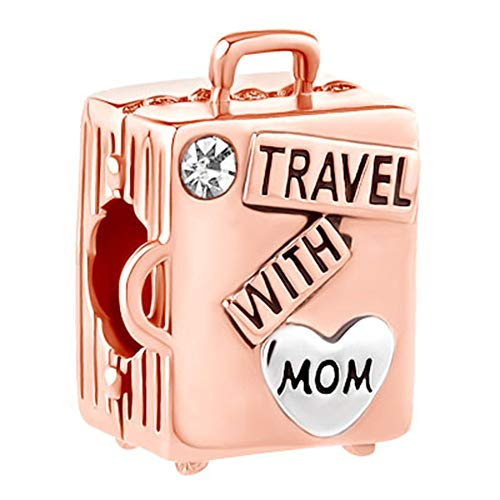 JewelryHouse Travel with Mom Luggage Suitcase Bead Charms fit Charms Bracelets (Rose Gold)