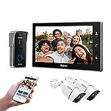 TMEZON WiFi videoportero intercomunicador Timbre Sistema de intercomunicación, Monitor WiFi de 10 Pulgadas con cámara Exterior con Cable (1M1D2C), Pantalla táctil, Control Remoto, desbloqueo de App