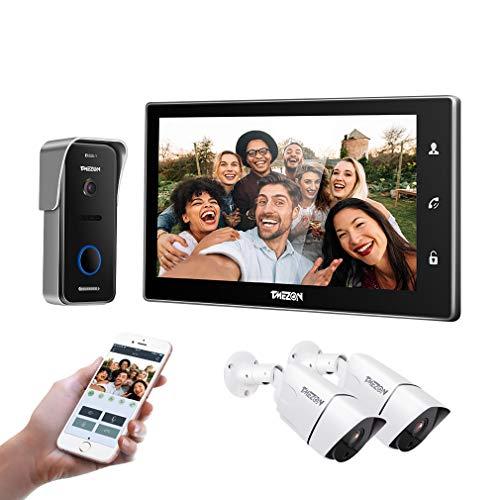 TMEZON WLAN Video Türsprechanlage Türklingel Gegensprechanlage System, 10 Zoll WLAN Monitor mit Verdrahteter Kamera im...