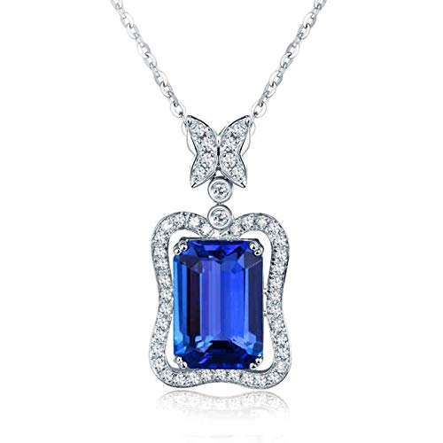 Beydodo Kette 18 Karat Weißgold 750 mit Anhänger Charms Schmetterling 4ct Tansanit, Hochzeit Halskette Damen mit Diamant Echt
