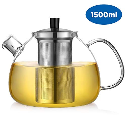 Ecooe 50 Ounce Clear Glass Teapot with 18/10 Stainless Steel Infuser Large Loose Leaf Teapot Tea Infuser Teapot Glass Tea Kettle
