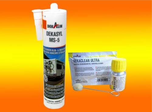 bau-tech Klebeset Dekasyl MS-5 in Weiss, Kleber für Wohnmobil, Boote, Dachbefestigung von Solarpanele