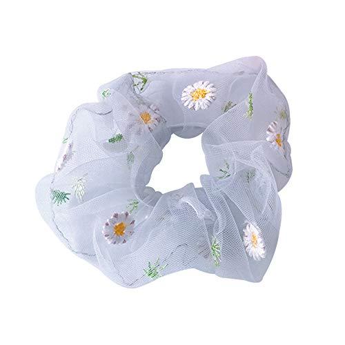 Haargummis mit Gänseblümchen-Motiv, für Damen, Pferdeschwanz, Haarband