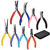 Supkiir 8Pcs Jewelry Making Pliers Set with Pouch, Wire Pliers, Diagonal Pliers, End Cutting Pliers, Long Nose Pliers, Needle Nose Pliers, Flat Nose Pliers, Bent Nose Pliers, Round Nose Pliers