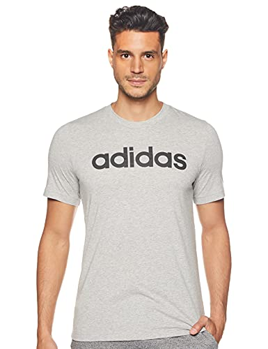 adidas E Lin tee Camiseta de Manga Corta, Hombre, Medium Grey Heather/Black, L