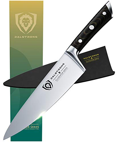 DALSTRONG Chef Knife - 8' - Gladiator Series - Forged ThyssenKrupp High Carbon German Steel - Full Tang - Black G10 Handle - w/Sheath