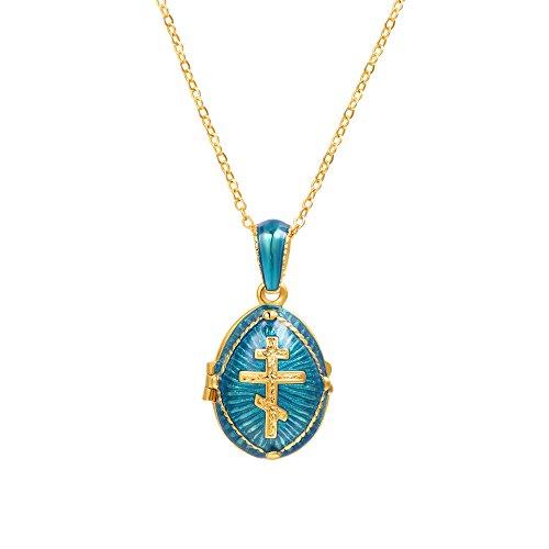 U7 Russische Orthodoxe Kreuz Oval Anhänger Andenken Schmuck Medaillon Halskette für Männer Frauen