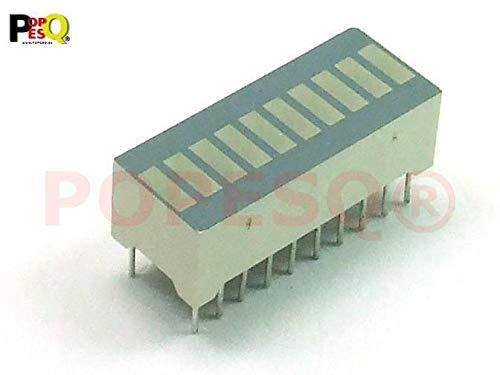 POPESQ® - 1 Stk. x Balkenanzeige 10 LED 3 Rot 7 Grün / 1 pcs. x Bargraph 10 LED 3 Red 7 Green #A27