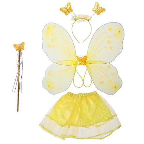 luoem Kostüm Fee Mädchen Kostüm Schmetterling Kinder Flügel-Fee Zauberstab Gewächshaus Kopf und Rock Tutu gelb 4-teilig