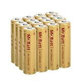 Mr.Batt NiCD AA Rechargeable Batteries for Solar Lights 1.2V 1000mA, 16 Pack
