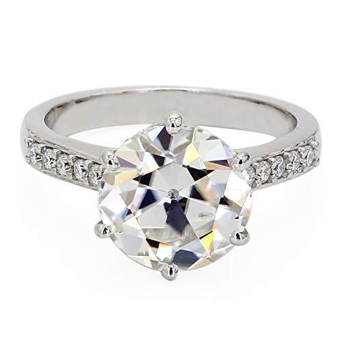 Diamondrensu - Anillo de diamantes de moissanita incoloros de corte europeo antiguo de 2,20 quilates, diseño de halo oculto, anillo de boda, anillo de compromiso, aniversario