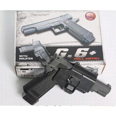 Galaxy - Pistola para Airsoft, Tipo Hi Capa, con Funda, Culata con Resorte Completamente metálico, de Recarga Manual (0,4 Julios)