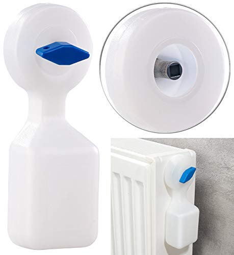 AGT Heizung entlüften: Manueller Heizkörper-Entlüfter mit integriertem Wasserbehälter, 120 ml (Heizungsentlüftung)