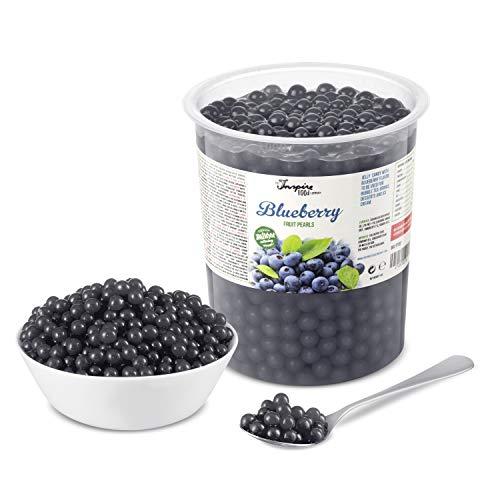 Original Popping Boba Fruchtperlen für Bubble Tea - 1 kg - Heidelbeere / Blaubeere - Ohne künstliche Farbstoffe, echte Fruchtsäfte - Weniger Zucker - 100% Vegan und Glutenfrei