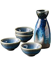ZYYH Juego de 5 Piezas de Sake japonés Retro, Duradero diseño Tradicional Pintado a Mano, Copas de Vino artesanales con 1 Olla 4 Tazas, para té Shochu frío y Caliente