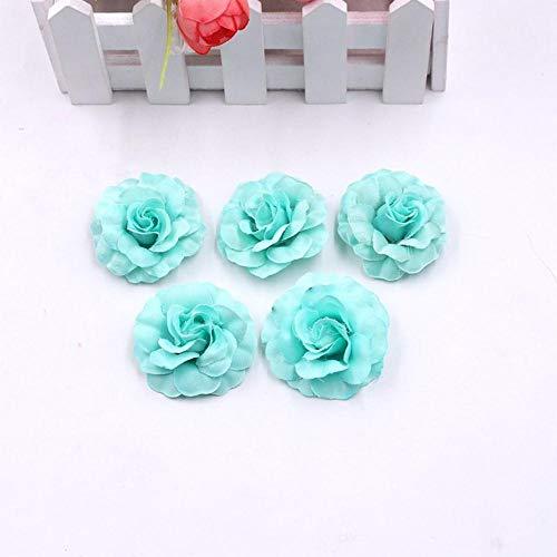 10 stks/partij kunstzijde mini rose bloem hoofd bruiloft woondecoratie diy guirlande plakboek geschenkdoos craft nep bloem, mintgroen