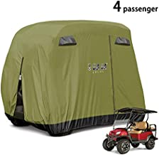 10L0L 4 Passenger Golf Cart Cover Fits EZGO, Club Car and Yamaha, 400D Waterproof with Extra PVC Coating Sunproof Dustproof - Two Side Zippers (Both Driver and Passenger Side) - Army Green