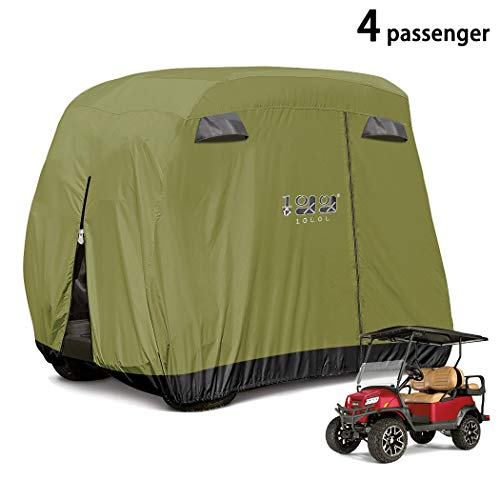 10L0L 4 Passenger Golf Cart Cover Fits EZGO, Club Car and Yamaha, 400D Waterproof with Extra PVC Coating Sunproof Dustproof - Two Side Zippers (Both Driver and Passenger Side) - Black Army Green