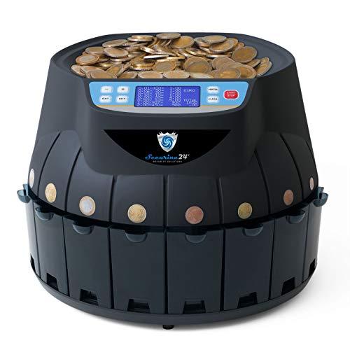 Münzzähler & -sortierer Geldzählmaschine Euro Münzen Geldzähler Münzzählautomat Professional Securina24® (schwarz)