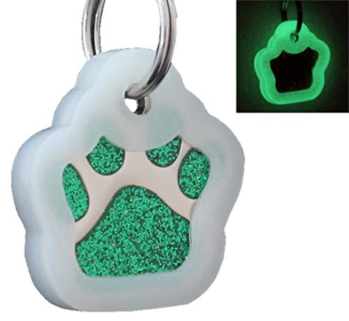 io tags Pet ID Tags, Personalized Dog Tags and Cat Tags, Custom Engraved, Easy to Read, Cute Glitter Paw Pet Tag (Green + Silencer)