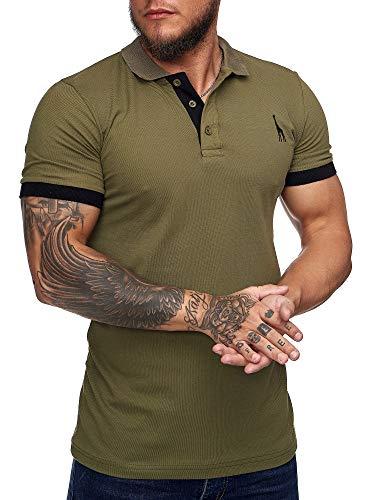 OneRedox Herren Poloshirt Polohemd Basic Kurzarm Einfarbig Slim Fit Polo Shirt Baumwolle T-Shirt Polokragen M-XXXL Modell 1404 Khaki S