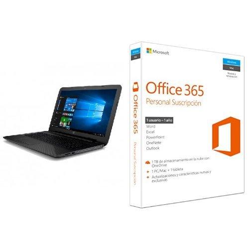 "HP 15-AY005NS - Portátil de 15,6"" (Intel Core i3-5005U con gráficos HD Intel 5500, 4 GB DDR3L SDRAM, Disco HDD de 500 GB, Windows 10 Home 64), negro - teclado QWERTY español"