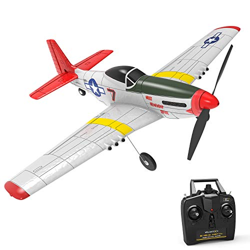 VOLANTEXRC 4-CH RC Airplane with Aileron Remote Control Warplane P51 Mustang Ready to Fly with Xpilot Stabilization System, One Key Aerobatic and One-Key U-Turn Function for Beginners (761-5 RTF)