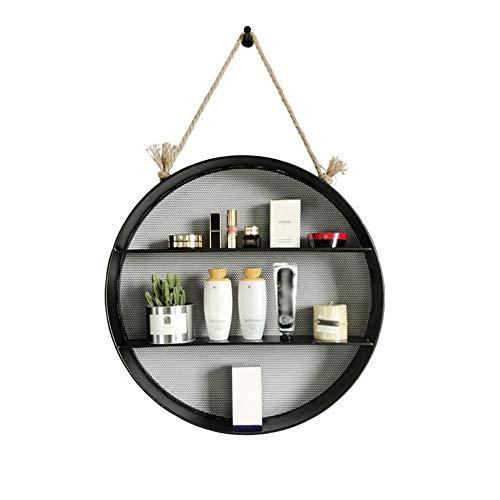 GWM Loft Retro Shelf, étagère Murale Flottante Multicouche Suspendue avec Corde de Chanvre créative en Fer Rond, Supports de Rangement Suspendus décoratifs