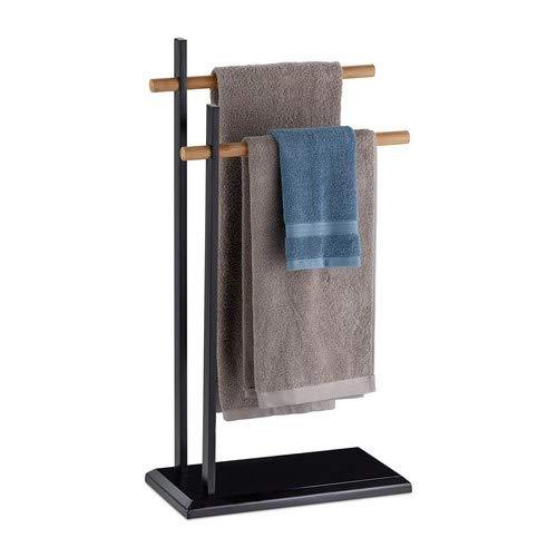Relaxdays Handtuchhalter zweiarmig, Bambus Handtuchstangen, Handtuchständer, Metall, HBT 85,5x45x22,5 cm, schwarz/natur