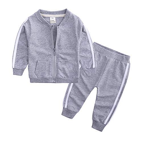 Bruce Lee Mantel + Hose, 2-teilig, Trainingsanzug, Outfit-Set, Herbst, Winter, gestreifter Druck, Sportanzug, Reißverschluss Gr. 100 cm, grau