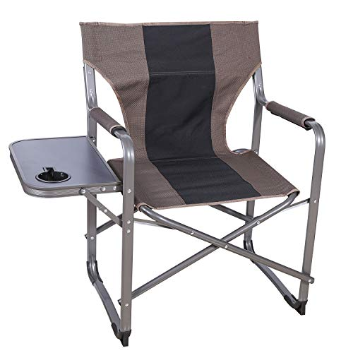 CAMPMOON Folding Camping Chairs for Adults with Side Table, Sturdy Heavy Duty Portable Outdoor Director Chair for Lawn and Sports, Brown