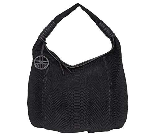 SILVIO TOSSI Damen Lederhandtasche Schultertasche Schwarz Modell 11247-14