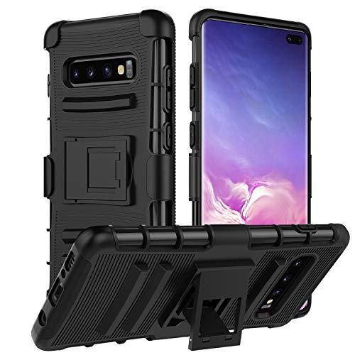 """MoKo Kompatibel mit Samsung Galaxy S10 Plus Hülle, Heavy Duty Serie Handy Schutzhülle Schale mit Gürtelclip und Standfunktion für Galaxy S10+ 6.4\"""" 2019 - Schwarz"""
