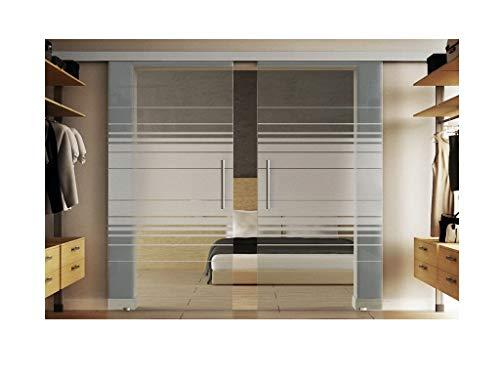 Glazen schuifdeur incl. twee schijven van elk 90 x 205 cm in gehard melkglas met horizont-dessin (H) Levidor-systeem compleet. Looprail en stanggrepen, schuifdeur van glas voor binnen.