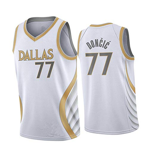 Luka Dončič New Season Herren Trikot Dallas Mavericks #77 Basketball Weste Sport Ärmellos Weste Gr. L, weiß
