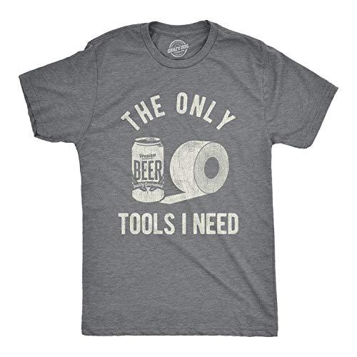 Camiseta para hombre The Only Tools I Need para cerveza y papel higiénico, Gris oscuro veteado, Medium