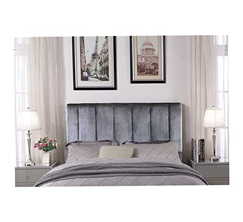 Wood & Style Uriella Headboard Velvet Upholstered Vertical Striped Modern Transitional, Twin, Grey Comfy Living Home Décor Furniture Heavy Duty