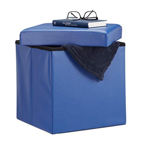 Relaxdays Faltbarer Sitzhocker, Sitzcube mit Stauraum Deckel, Fußablage, Sitzwürfel aus Kunstleder 38x38x38cm, Lederimitat, Blau