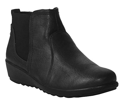 Cushion Walk Womens Ladies Slip On Twin Gusset Lightweight Casual Comfort Ankle Boots UK Sizes 4-8 (6 UK, Black)