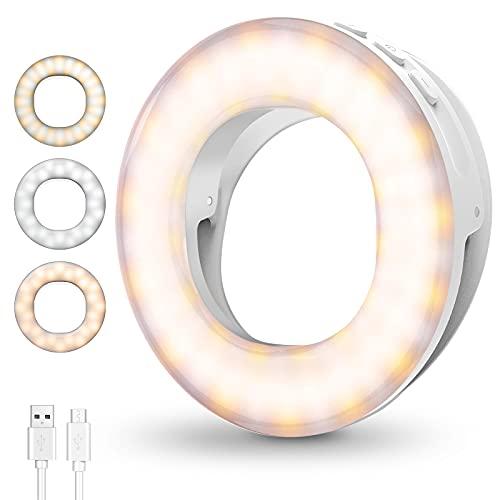 Anillo de Luz LED Fotografia Selfie, Aro de Luz Maquillaje con 4 Modos de Colores, Mini Ring Light de Relleno Recargable, Sujetable para Vídeo Llamada Youtube, TIK Tok Live, Blanco