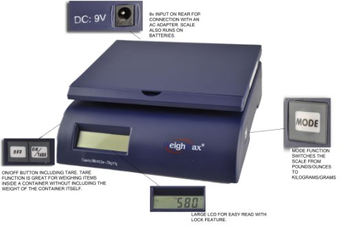 Weighmax 2822-50 lbs capacity, Postal Shipping Scale, Battery and AC Adapter Included, Blue