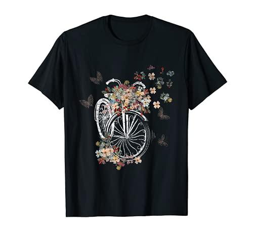 Blumen Schmetterlinge Radfahrerin Geschenk Fahrrad T-Shirt