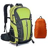 Mornyray Mochila Senderismo 40L, Mochila de Montaña Impermeable Mujer Hombre, Mochila de Viaje Trekking Acampada Caminar con Cubierta Lluvia (Verde)